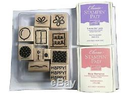 Stampin Up Rubber Stamp Set of 11 Happy Flower Bow Cake Ballon with 2 Ink Pads