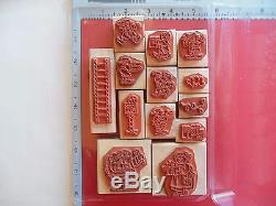 Stampin Up Santa's Elves Christmas Helpers Holiday Rare Rubber Stamp Set