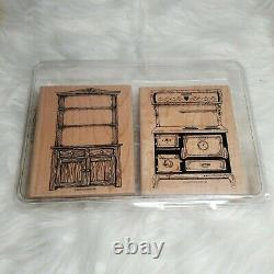 Stampin Up Set Country Hutch Old Fashioned Stove Stamp Kitchen Furniture Decor