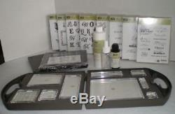 Stampin Up Set of 9 Clear Acrylic Block & Case 2 Scrub Cleaner 8 Stamps & Bonus