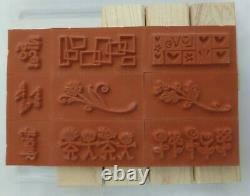 Stampin Up Smorgasborders NEW 2004 Wood Retired Set of 9, Unmounted
