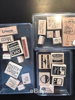 Stampin Up Stamp Sets Huge Lot Of 300+ Stamps, Accessories, Ink Pads, Dies