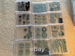 Stampin Up Stamp Sets RETIRED HUGE LOT (A) 40 sets in CD cases