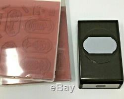 Stampin' Up! TIME FOR TAGS & MEMORABLE MOSAIC Stamp Set w TIMELESS LABEL PUNCH