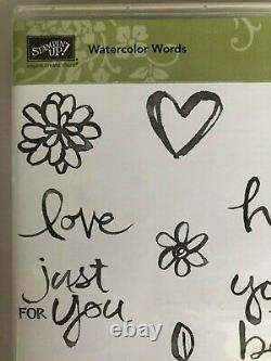 Stampin' Up! WATERCOLOR WORDS (11) Stamps Set Photopolymer Happy Birthday, L
