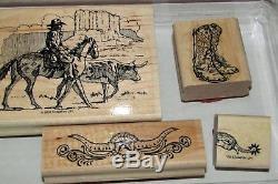 Stampin' Up Wild Wild West Rubber Stamp Set Rare Cowboy Set 2002