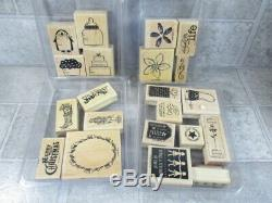 Stampin Up Wood Mount Rubber Stamps Lot of 22 Sets 161 Stamps Some Unmounted