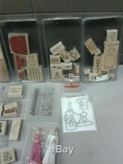 Stampin Up Wood Mount Stamp Lot of 40 Sets 200+ Stamps Total Plus Extras (dd) g
