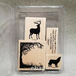 Stampin Up! Wooden Rubber Stamp Nature Silhouettes Set of 4