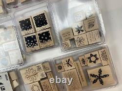 Stampin Up Wooden Stamps Sets Lot Alphabet Numbers Neighbors Friendship Flowers