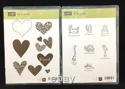 Stampin Up lot Rubber Stamp Set VBS Hearts Starts Sentiments RETIRED love bugs