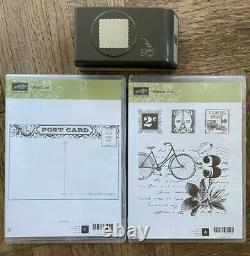Stampin Up retired, POSTAGE DUE, POST CARD 2 Stamp sets & PUNCH Vintage Bundle