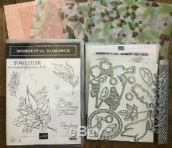 Stampin Up retired, WONDERFUL ROMANCE Stamp Set & FLORAL Dies & DSP sampler