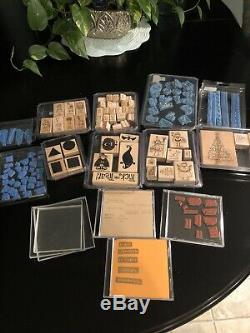 Stampin Up stamp sets Lot Of Retired Stamps EUC With Bonus Free Acrylic Mounts